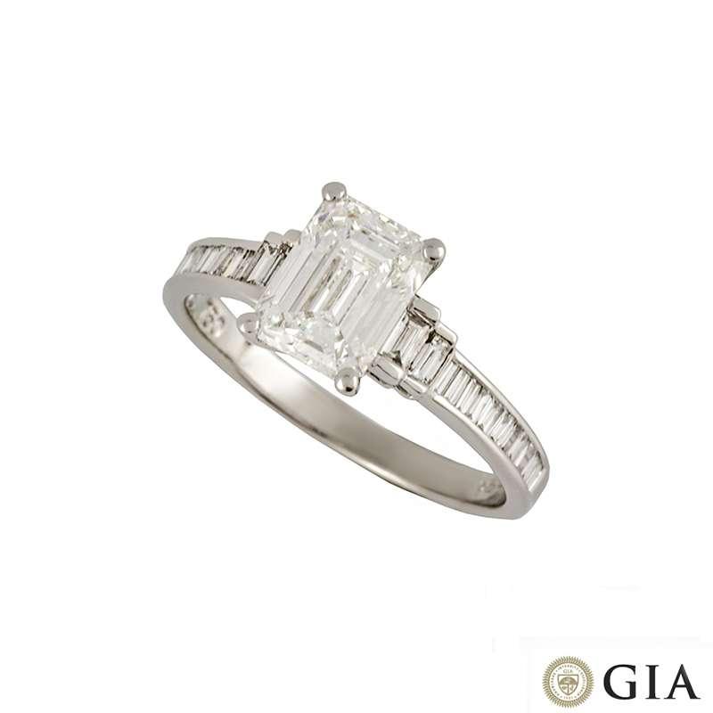 18k White Gold Emerald Cut Diamond Ring 1.51ct F/VVS2